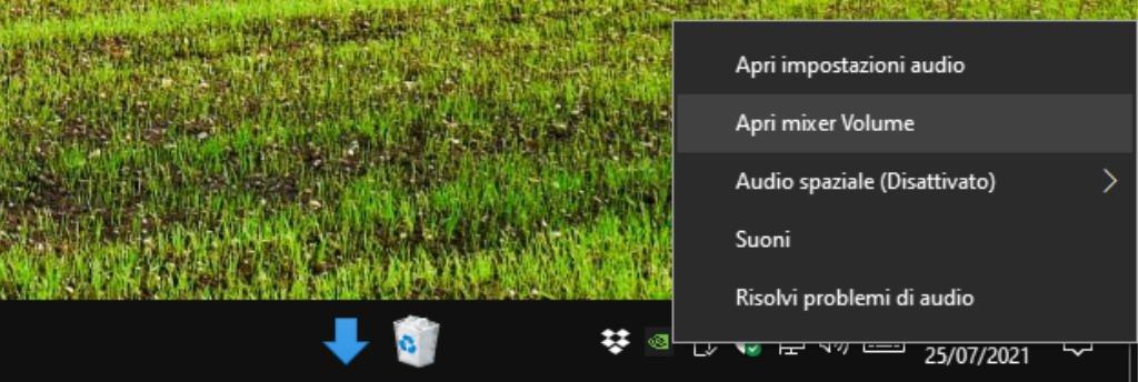 Apri mixer del volume Windows 10 Barra delle applicazioni