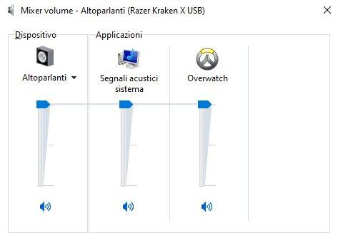 Mixer del volume Windows 10 Altoparlanti