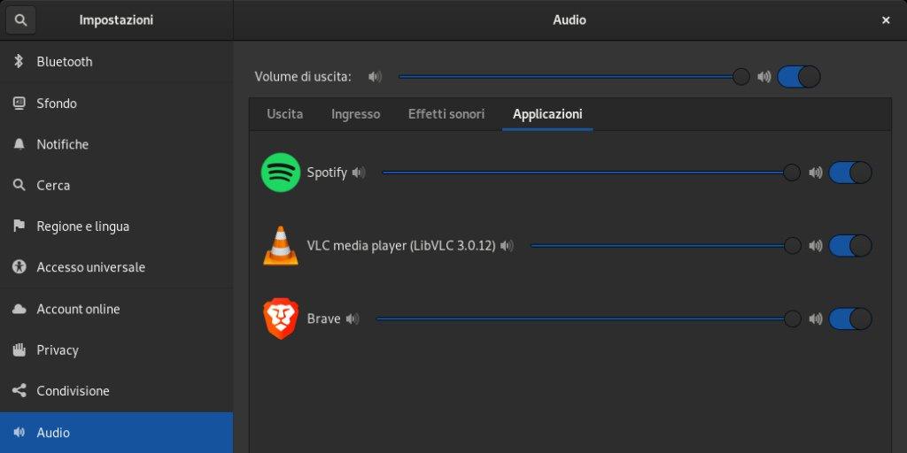 Come impostare il volume delle singole app su Linux Debian