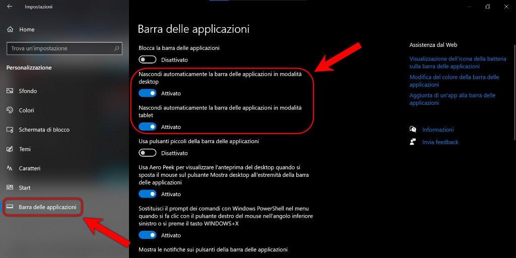 Come nascondere la barra delle applicazioni su Windows 10 2