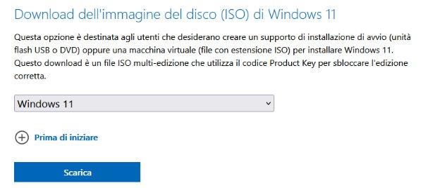 creare usb per installare windows 11